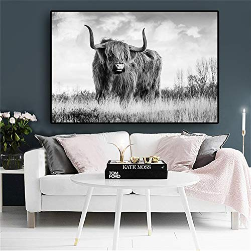 Sanzangtang zwart-wit-hoogland-koeien-dier-linnen-schilderij-affiche en prints Nordic woonkamer-wandschilderij lijst zonder lijst