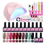 Saint-Acior 10pcs Esmaltes Semipermanentes de Uñas en Gel 8ml Kit Unas en Gel 36W UV/LED Lámpara Uñas Secador de Uñas Base Coat Top Coat Kit para Manicura Pedicura