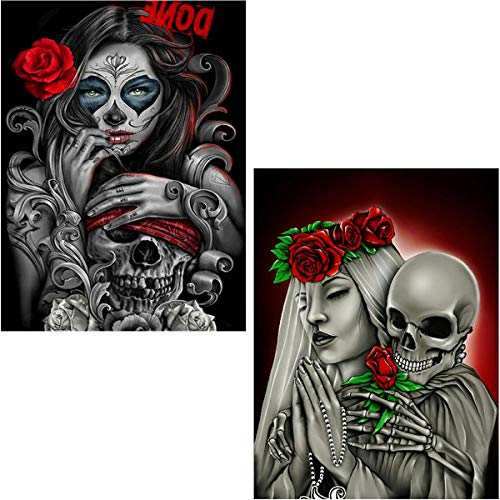 Ginfonr 2 Pack 5D Diamond Painting Rose Skeleton and Beauty by Number Kits, Skull Paint with Diamonds Full Drill Art Crystal Embroidery Rhinestone DIY Decor Craft (12x16 inch)