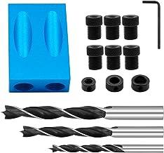 Pocket Hole Jig Kit de 14 piezas de calibre de bolsillo 6/8/10 mm 15° taladro taco adaptador de accionamiento angular para madera