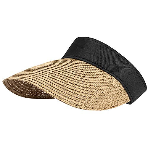 CARSA Women Straw Sun Visor Hat Wide Brim Summer UV Protection Beach Cap Foldable Sun Hat for Women(Khaki-Empty top)