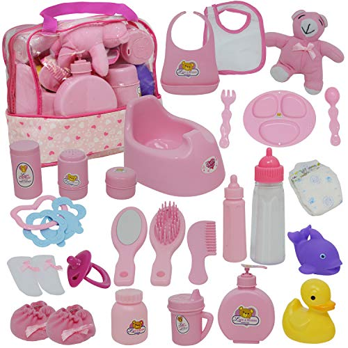 Image of Baby Doll Diaper Bag Set, Doll Feeding Set with Baby Doll Accessories Includes Doll Bottles
