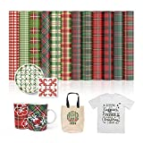 "XINPOCUT infusible Transfer Ink Sheets(12pcs/Set, 12""x12"") - Christmas plaid Transfer Paper Sublimation for Cricut Mug Press,Heat Press Machine Transfer Sheets for T-Shirts Mug Bag"