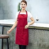 2 Pack Schürze Mit 3 Taschen für Männer Frauen, Verstellbare Kochschürze Küchenschürze Wasserdicht Latzschürze Grillschürze für Küche Garten BBQ Chef Kellner Bäcker – Rot - 7