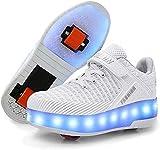 XRDSHY Sneakers De Mode Enfants Girls Garçons Roues Skate Chaussures Confortable, Roller Chaussures Thanksgiving Journée De Noël Meilleur Cadeau,White-38
