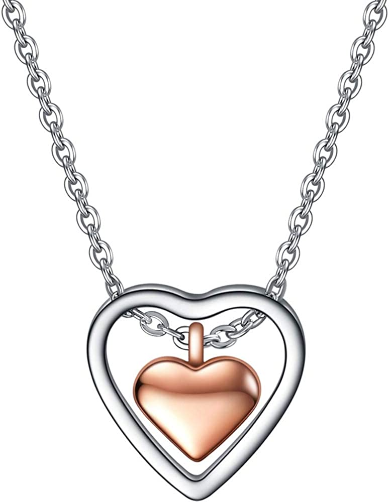 Jude Jewelers Stainless Steel Double Heart Shaped Charm Collar Statement Necklace