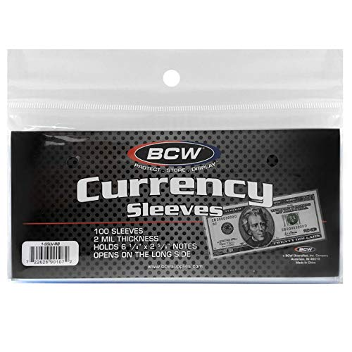 BCW US Currency Clear Sleeves for Regular Bills, 2-MIL Thickness, 6-1/4 x 2-5/8 (100-Count)
