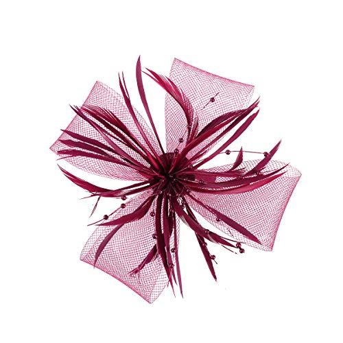 Frcolor Pince à cheveux avec fleur en maille pour femme, voile et plumes, épingles à cheveux pour mariage, thé (vin rouge)