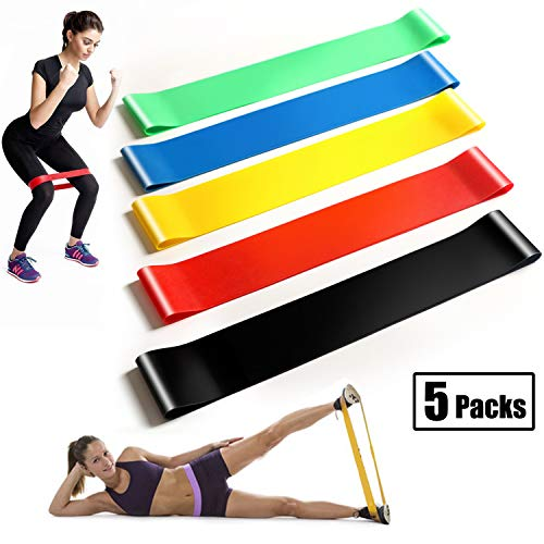 veyiina nero Exercise BandsResistance Loop Bands Natural Latex Workout Bands for Home Fitness Gym Yoga Strength Training Physical Therapy Natural Latex Workout BandsSet of 5