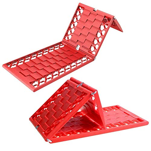 DEDC 2 Pack Foldable Car Tire Traction Mats Tire Chocks Tire Grip Aid Ideal Chock to Unstuck Car from Snow Ice Mud Sand, Red