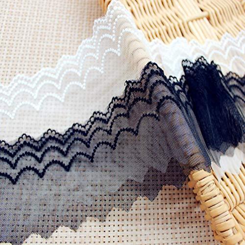 Astonish 10yards zartem Tüll Spitze Welle gestickten trimmen für Bekleidung DIY-weiß/schwarz Qx: Weiß
