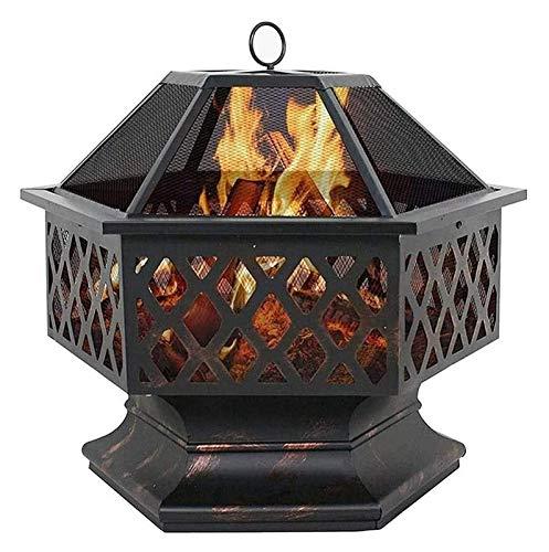 HLZY Fuegos al aire libre para barbacoa de patio, parrilla quemadora, hoguera de metal portátil, estufa de chimenea de diseño hexagonal, con cubierta de malla para chimenea, estufa de leña