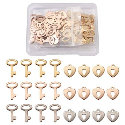 Fashewelry 60 unidades por caja de acero inoxidable para llaves y cerraduras colgantes para manualidades, fabricación de joyas, oro y acero inoxidable y color oro rosa