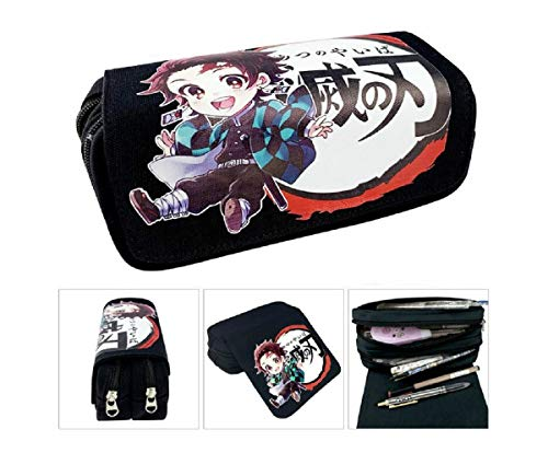 IUTOYYE Pencil Case Demon Slayer Holder Pouch Holder Box Organizer Anime Stationery Large Capacity Makeup Bag Zipper Canvas Pencil Box School Gift(D Style)