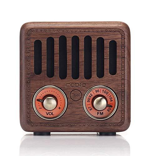 Vintage Radio mit Bluetooth Lautsprecher, Retro Radio Klein Holz FM SD MP3 Transistor Laderadio Speaker Tragbares AUX-IN Radio Bass und Subwoofer