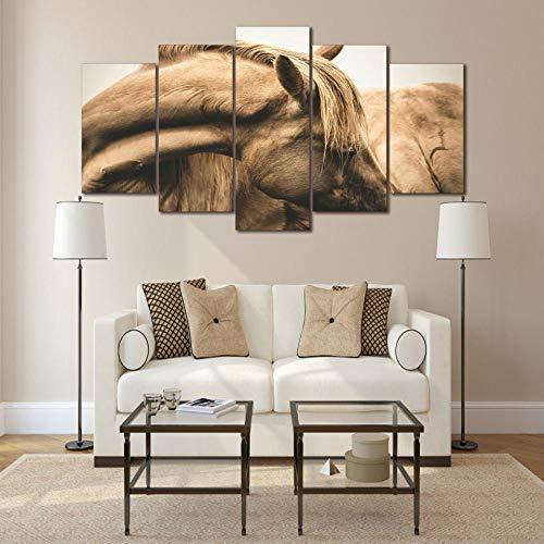 Fifase Pintura De Lienzo De 5 Piezas De Panel Pintura De Lienzo Modern Art Wall HD Impreso Poster Modular 5 Panel Caballos Cuello Cabeza Pintura Sala Decoración Decoración Lienzo Imágenes Lienzo Cuad