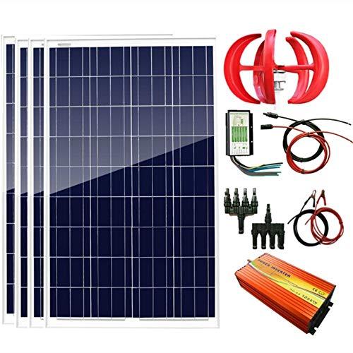 AUECOOR 700 W 12 V Wind-Solar-Leistung: 1 Stück 12 V/24 V 300 W Windturbinen-Generator + 4 Stück 100 W Poly-Solarpanel + 1500 W Wechselrichter (Spitze 3000 W) + Zubehör für den Heimgebrauch