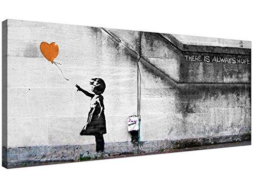 Modern Oranje Doek Kunst van Banksy Ballon Meisje - 1225 - Wallfillers®