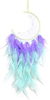 YRY Lucky Purple Moon Cute LED Dream Catcher, Hand Weave Half Circle Moon Design Dream Catchers for Wall Window Bookshelf ...