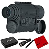 Bushnell 260140 Equinox Z Digital Night Vision Monocular, 4.5X 40mm Bundle with Deco Gear Tactical Flashlight and Tactical Pen Set with Water/Shockproof Case + 6 x 6 inch Microfiber Cleaning Cloth