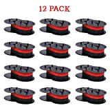 Bigger Replacement for Porelon 11216 Universal Twin Spool Calculator Ribbon for Nukote BR80c, Sharp El 1197 P III, Dataproducts R3027 (1 3/8' of Spool Diameter, 1/2' Wide, Black/red, 12-Pack)