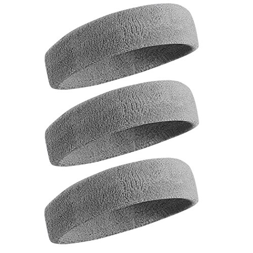 Beace Sweatband Sports Headband for Men and Women, Moisture Wicking Athletic Cotton Terry Cloth Sweatband for Tennis, Running, Gym, Working Out, 3pcs, Gray