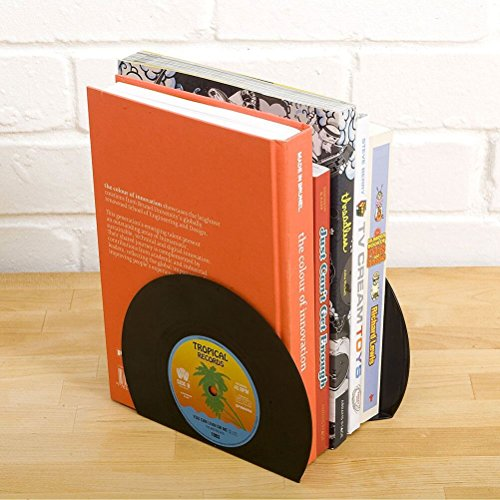 Retro Vinyl Black Bookends - Set von 2 kleinen Retro Bookends