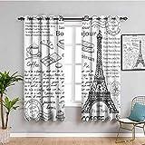 Paris Decor - Cortina oscura para habitación (63 x 72 cm), diseño de Torre Eiffel, color negro y blanco