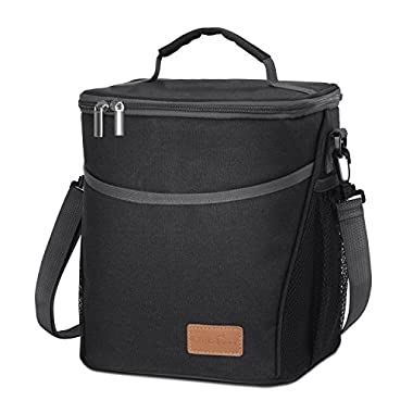 Lifewit Insulated Lunch Box Lunch Bag for Men Women, Thermal Bento Bag, Leakproof Water-resistant Cooler Bag for Work/School/Picnic, 9L, Black