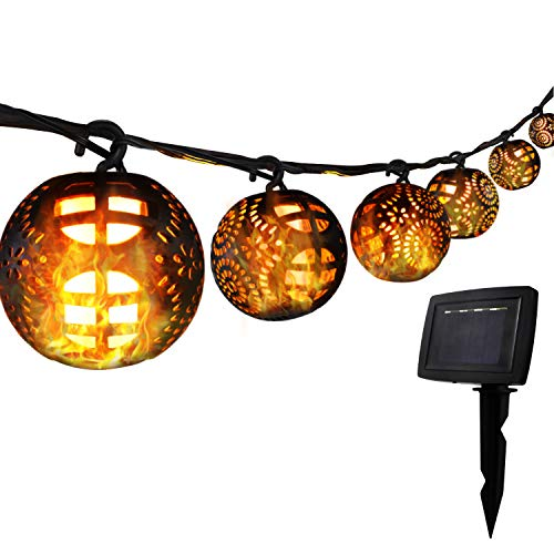 YINUO LIGHT 23 FT Solar Patio String Lights with 6 Flickering Flame Lantern Waterproof for Outdoor, Wedding Party, Christmas Tree, Garden Decoration
