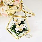 Scatola per anelli nuziali in vetro geometrico, personalizzabile con cuori, scatola per anelli nuziali, per cerimonie, fedi nuziali, cuscino, terrario geometrico