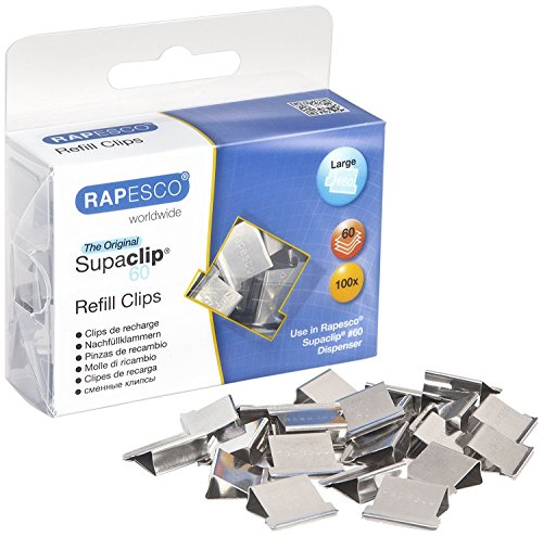 Rapesco Supaclip 60-Sheet Capacity Stainless Steel Refill Clips, Pack of 100 (CP10060S)