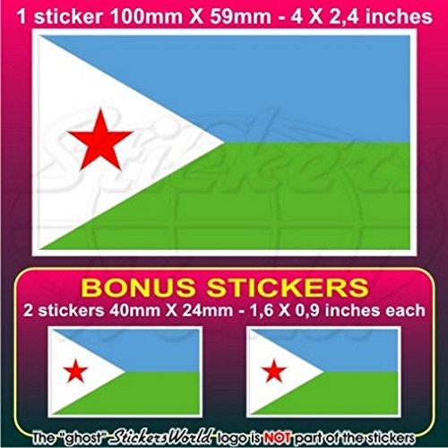 djibouti Drapeau djiboutienne Afrique jabuuti, gabuuti 10,2 cm Bumper Sticker en vinyle (100 mm), en x1 + 2 Bonus