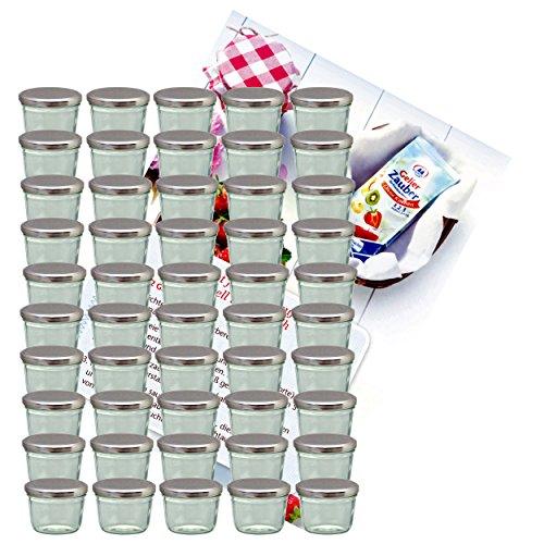 MamboCat 50er Set Sturzglas 230 ml Marmeladenglas Einmachglas Einweckglas to 82 silberner Deckel incl. Diamant-Zucker Gelierzauber Rezeptheft