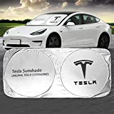 Tesla Car Windshield Sun Shade Front Window Windshield Blocks UV Rays Sun Visor Protector Sunshade for 2020 Tesla Model Y 2018 2019 2020 Tesla Model 3 Tesla Model S 2012-2018 Tesla Accessories