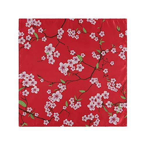 REFFW Fleur Cerise Branches Serviettes en Tissu Imprimer 4 Pièces Linge De Table pour Dîners en Famille Restaurant Mariages Parties Banquets Mont