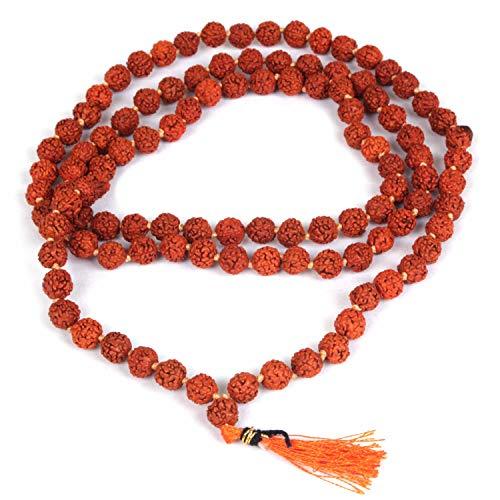 Jingle Jewels Hermosa guirnalda de cuentas Rudraksh | oración de meditación de madera 108 cuentas