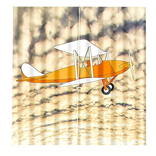 FACWAWF Cortinas De Impresión Digital 3D Apagón Protector Solar Cortinas De Avión Blanco Sala De Estar Dormitorio Decoración De La Cortina De La Puerta 2xW75xH166cm