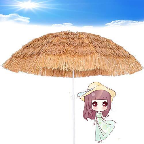LDJ Parasol en Paille, 1.8m/6ft Rond Parasol Grand Piscine Hawaïen Style Marché Table Extérieur Patio Bouton Poussoir Parasol Inclinable Rond pour Plage