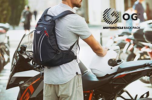 OG Online&Go Roadrunner Motorrad-Rucksack Wasserdicht Schwarz Leicht 20-30l, Motorradhelm-Tasche, Helm-Trageriemen, Fahrrad-Rucksack, Anti-Diebstahl, Laptop-Fach, Reflektierend - 6