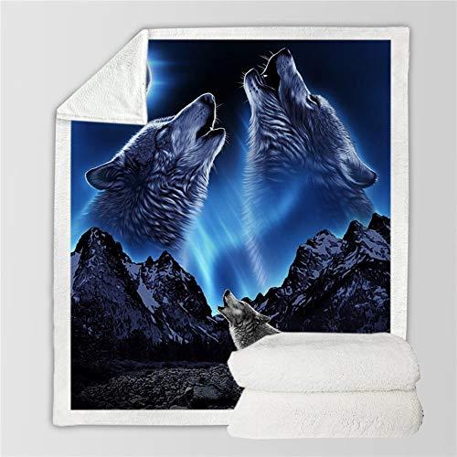 BZRXQR Versátil Manta Polar Suave Tiro Alfombra Sofá de Cama Wram bebé de la Manta de Felpa Sherpa - Lobo de la Nieve sofá (Color : 3, Size : 130X150cm)