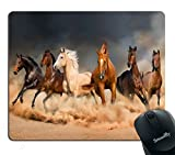 Smooffly Horse Mouse Pad for Office, Masculine Running Horses Customized Rectangle Non-Slip Rubber Mousepad