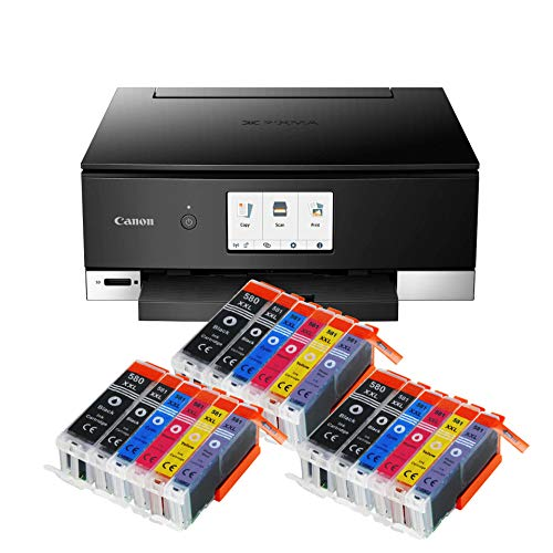 Canon Pixma TS8350 TS-8350 All-in-One Farbtintenstrahl-Multifunktionsgerät (Drucker, Scanner, Kopierer, CD-Druck, USB, WLAN, LAN, Apple AirPrint, SD-Karte) Schwarz + 18er Set IC-Office 580XXL 581XXL