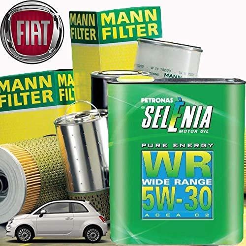 Tecneco Kit Huile Moteur 3Lt Selénia WR Pure Energy 5 W-30 aCEA c2 + filtres Mann Filter-f Les à T Nouvelle 500 (150) 1.3 JTD 16 V |07-