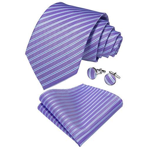 WOXHY Cravate Homme Violet Cravate en Soie rayée pour Hommes Mouchoir Boutons de Manchette Cadeau Affaires Mariage fête Cravate Ensemble