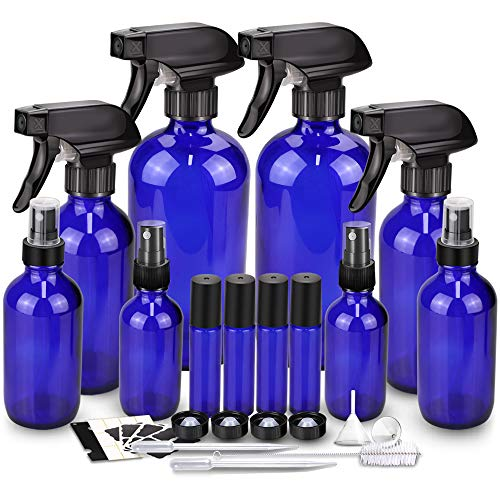 Glass Spray Bottle Kits, BonyTek Empty 4 10 ml Roller Bottles, 8 Blue Essential Oil Bottle(16oz,8oz,4oz,2oz) with Labels for Aromatherapy Cleaning Products