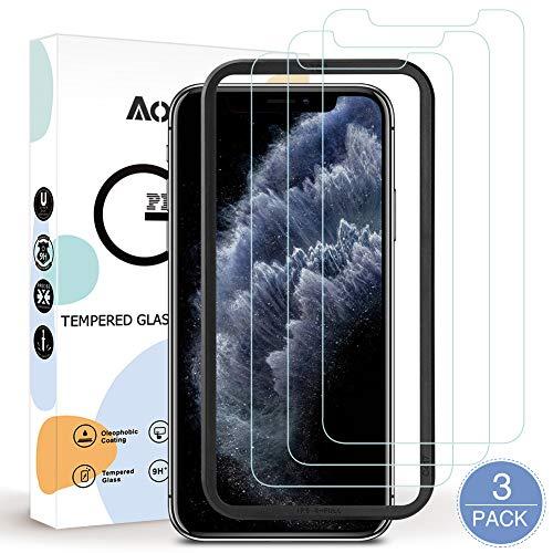AODOOR Panzerglas Kompatibel mit iPhone 11 Pro, [3 Stück mit Führungsrahmen] iPhone 11 Pro Schutzfolie 9H Anti-Bläschen Panzerglasfolie, Displayschutzfolie für iPhone 11 Pro Displayfolie - 5,8