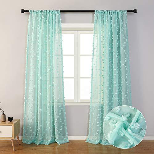 "MYSKY HOME Aqua Sheer Curtains 96 Inches Long for Baby Nursery Set of 2 Panels Rod Pocket Semi Sheer Textured Decorative Curtains with Pom Pom for Girls Bedroom (2 Panels, 54"" x 96"", Aqua)"