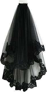 Classic Lolita Style Black Cathedral Halloween Party Wedding Bridal Veil, 8060cm