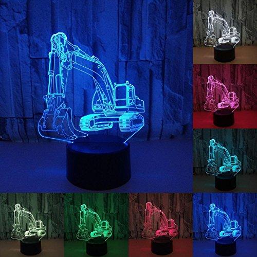 3D Optical Illusion Lampe LED Nachtlichter,KINGCOO Verstellbar 7 Farben LED Schreibtischlampen Acryl Licht Berührungsschalter Stereo Visual Atmosphäre Tischlampe,Geschenk für Weihnachten (Bagger)